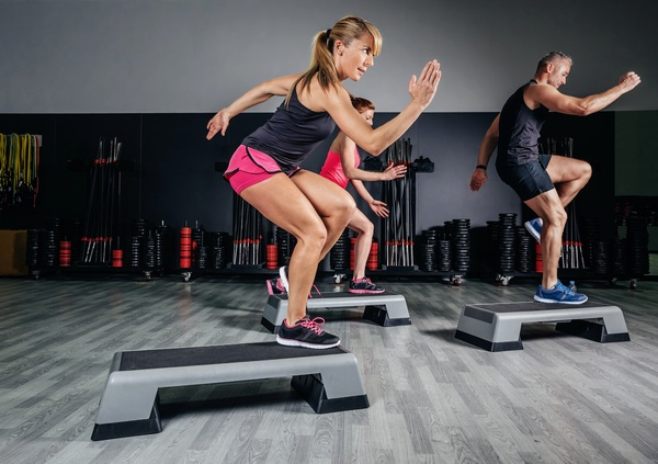 fitness aerobics workout in the gym